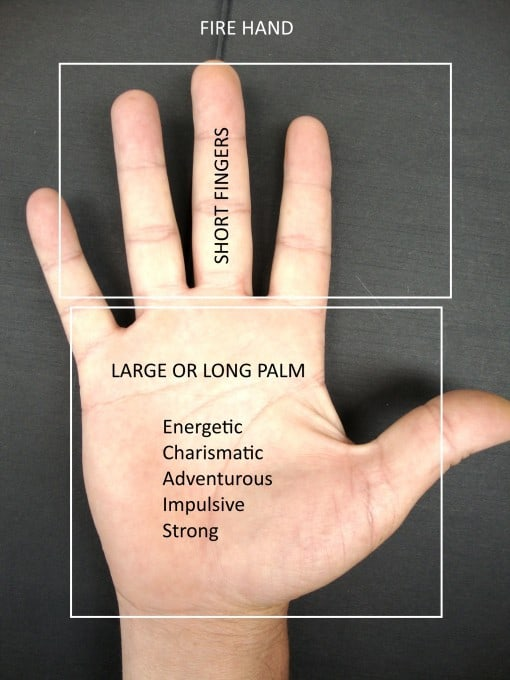 fire shaped hand in palmistry, long palm, short fingers, handanalysis from hand shape, career choices