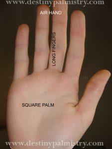 destiny palmistry, long fingers, air hand