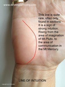 line of intution, intuition line, palmistry line of intuition, psychic line on palm