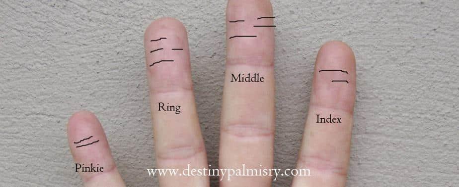 lines on the fingertips, vertical lines on fingertip, horizontal line on fingertips,
