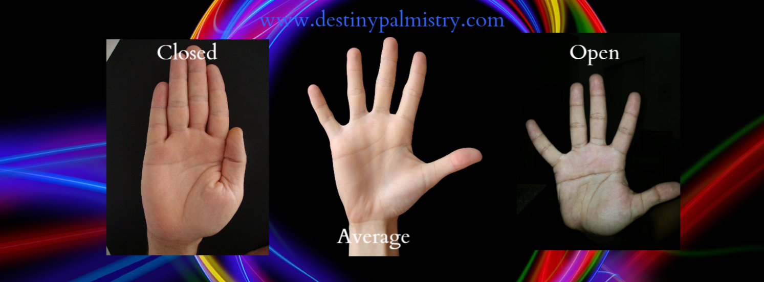 hand with fingers held closed and hand with fingers held wide apart