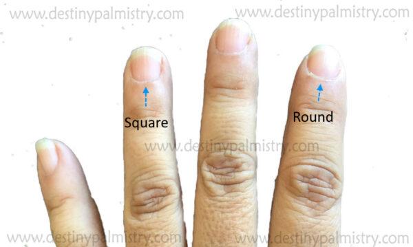 square shaped nail, round nail